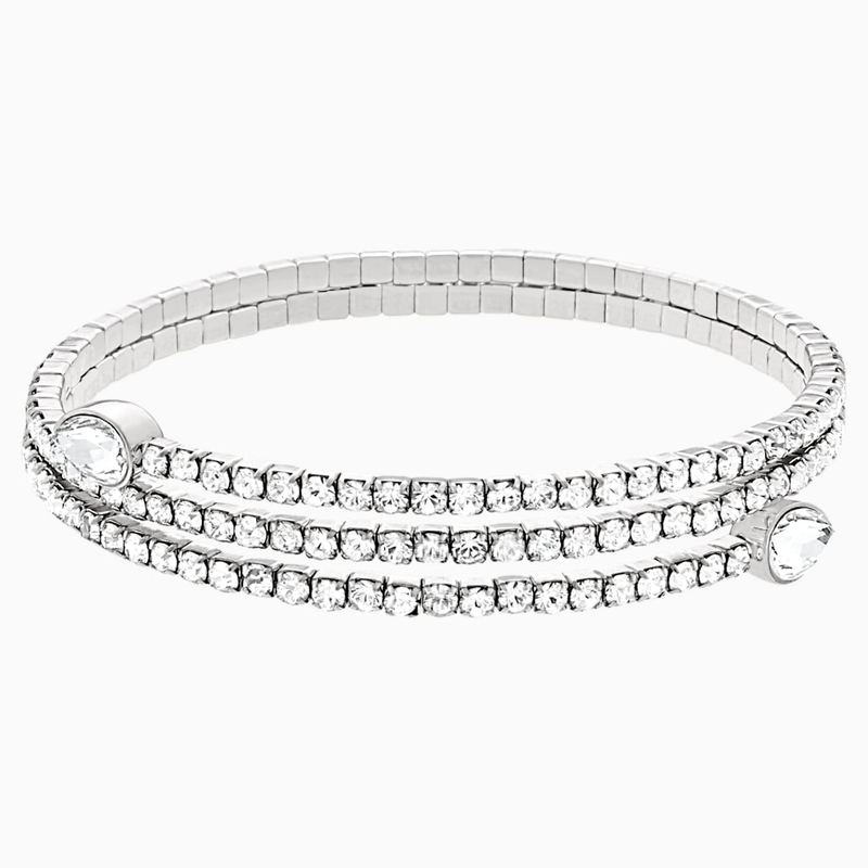 Swarovski Twisty Bangle, White, Rhodium plated