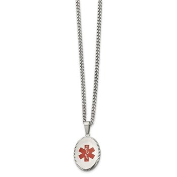 Stainless Steel Polished w/Red Enamel Oval Medical ID 20in Necklace