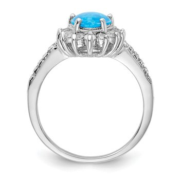 Cheryl M SS Lab Created Blue Opal Ring