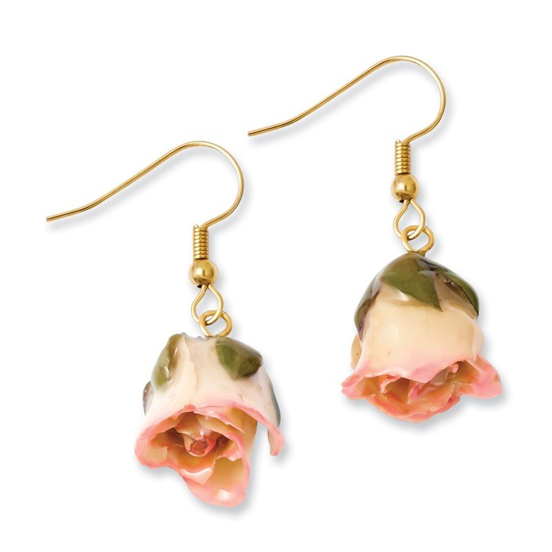 Quality Gold Lacquer Dipped Cream/Pink Rose Dangle Earrings