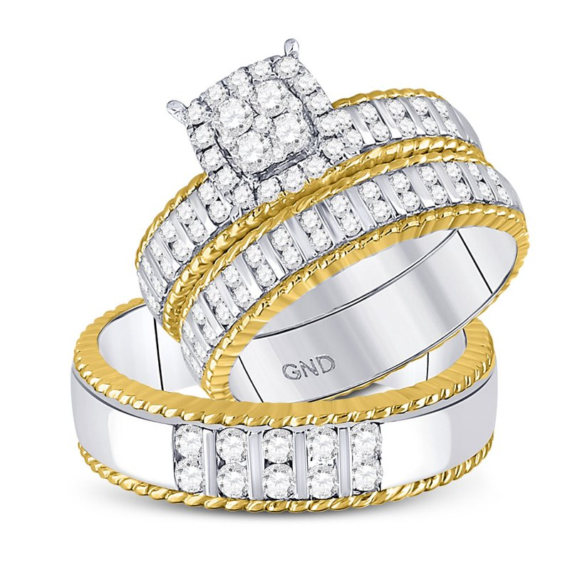Gold-N-Diamonds, Inc. (Atlanta) 14kt Two-tone Gold His & Hers Round Diamond Cluster Matching Bridal Wedding Ring Band Set 1.00 Cttw