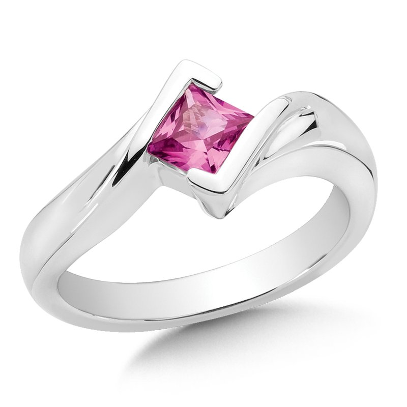 Sterling Silver Created Pink Sapphire Essential Ring