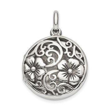 Sterling Silver Antiqued Filigree Floral Top 21mm Locket Pendant