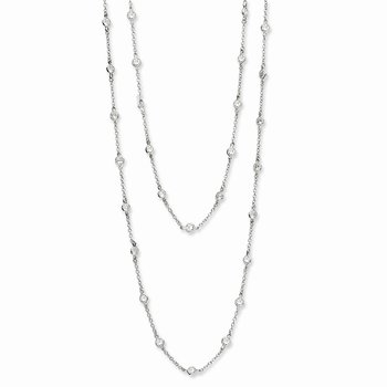 Cheryl M Sterling Silver Rhodium Plated CZ Station 36in Necklace
