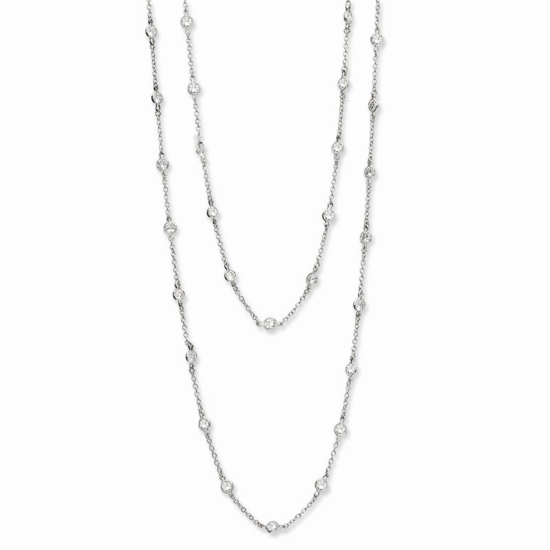 Cheryl M Cheryl M Sterling Silver Rhodium Plated CZ Station 36in Necklace