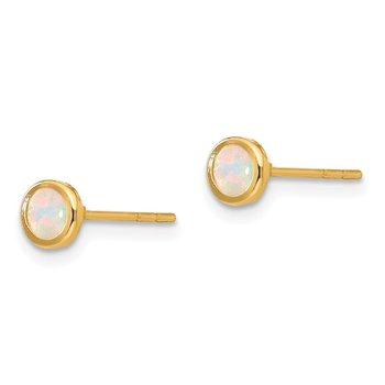 14K Madi K Polished Lab Created Opal Bezel Post Earrings