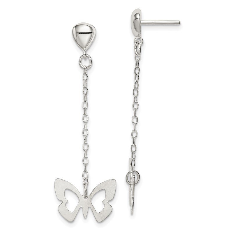 Quality Gold Sterling Silver Butterfly Dangle Posts