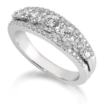 Pave and Prong-Set Graduated Diamond Anniversary Band