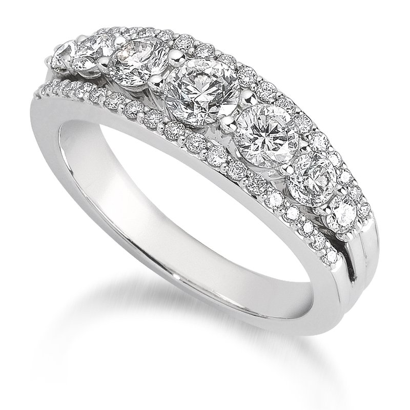 SDC Creations Pave and Prong set Graduated Diamond Anniversary Ring 14k White Gold (3/4ct. tw.)
