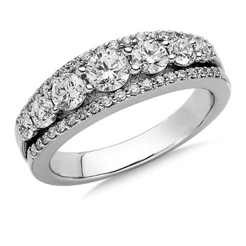 Pave and Prong set Graduated Diamond Anniversary Ring 14k White Gold (3/4ct. tw.)