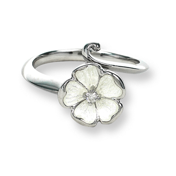 Sterling Silver Rose Ring-White.  Diamonds.