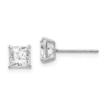 14k White Gold Madi K 5mm Square CZ Post Earrings
