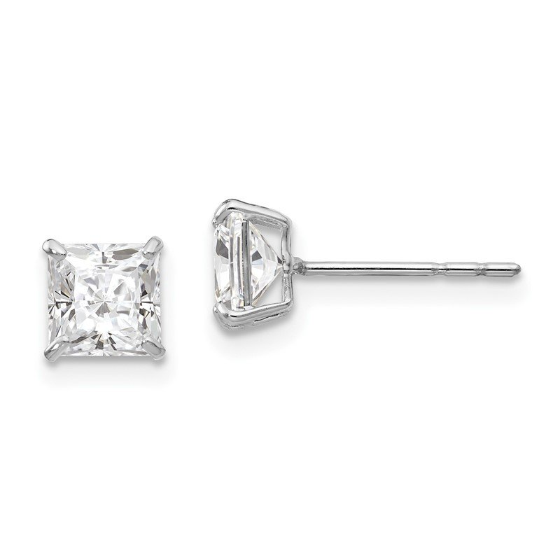 Quality Gold 14k White Gold Madi K 5mm Square CZ Post Earrings