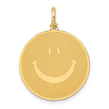 14k Solid Polished Smiley Face Pendant