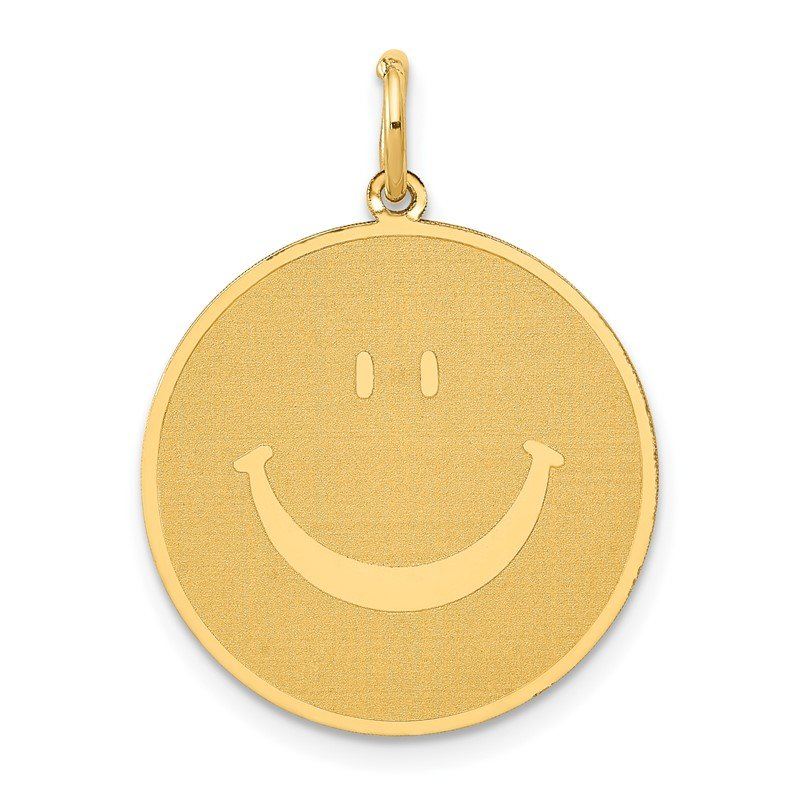 Quality Gold 14k Solid Polished Smiley Face Pendant