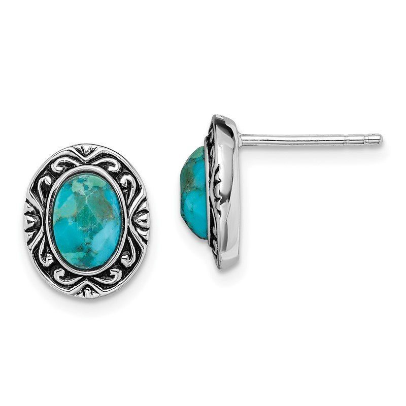Quality Gold Sterling Silver Rhodium/Oxidized w/Recon. Turquoise Post Earrings