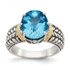 Quality Gold Sterling Silver w/14k Swiss Blue Topaz Ring