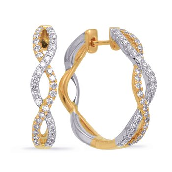 Yellow & White Gold Diamond Hoop Earring