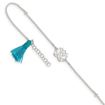 Sterling Silver Lotus w/Blue Fabric Tassel 9in Plus 1in ext. Anklet