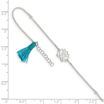Sterling Silver Lotus with Blue Fabric Tassel 9in Plus 1in ext. Anklet