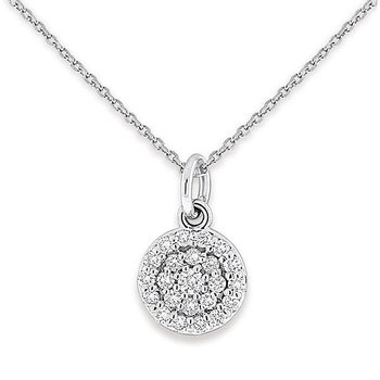 Diamond Disc Necklace in 14k White Gold with 23 Diamonds weighing .37ct tw.
