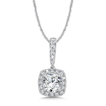 Diamond Cushion Halo Pendant with Diamond Bale in 14K White Gold (1 ct. tw.)
