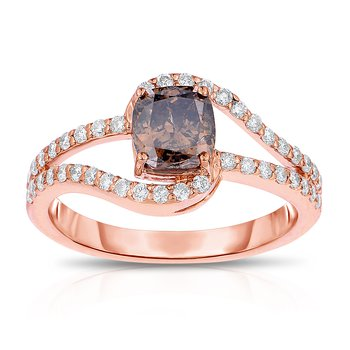 1.17ctw Rose Gold Engagement Ring with .85ct Cushion Cut Natural Mocha Center