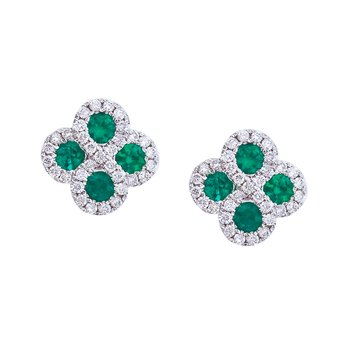 14k White Gold Emerald and .26 ct Diamond Clover Earrings