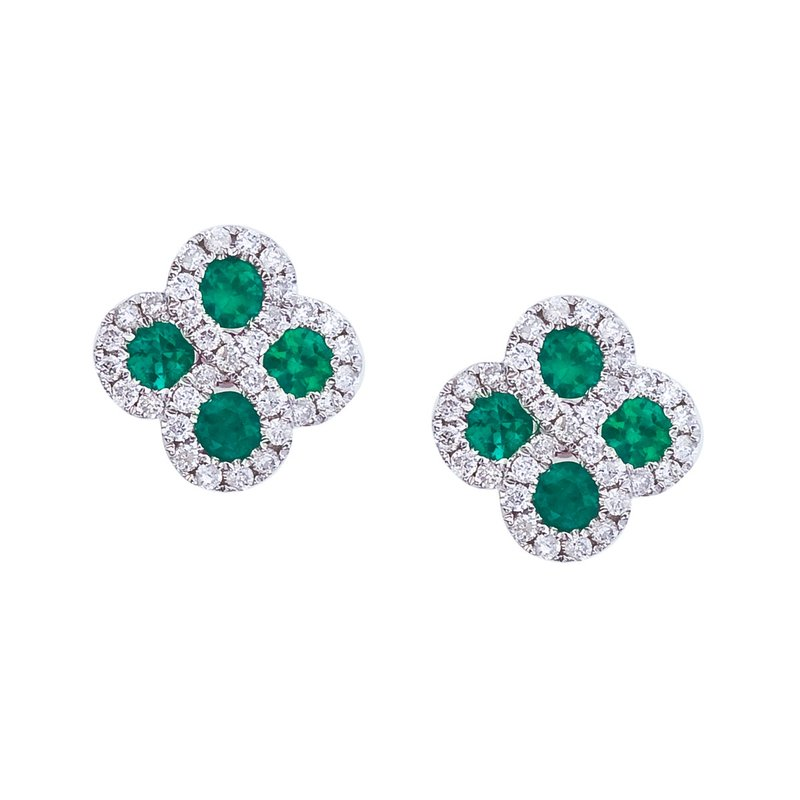 Color Merchants 14k White Gold Emerald and .26 ct Diamond Clover Earrings