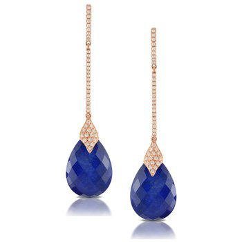Royal Lapis & Diamond Earrings
