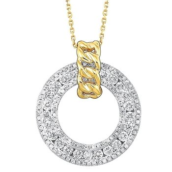 Diamond Triple Eternity Door Knocker Pendant in 14k Two-Tone Gold (¾ ctw)
