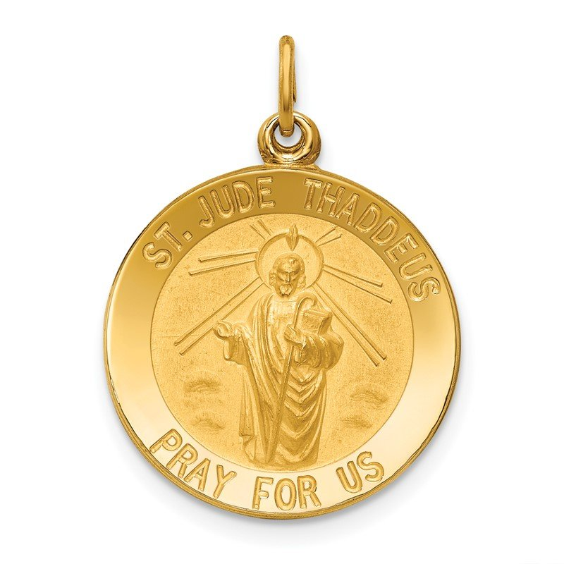 Quality Gold 14k Solid Polished/Satin Small Round St. Jude Thaddeus Medal