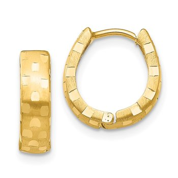 14K Diamond Cut 4mm Patterned Hinged Hoop Earrings