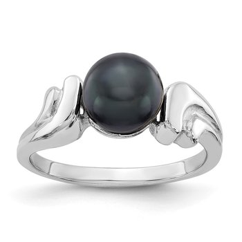 14k White Gold 7mm Black FW Cultured Pearl ring