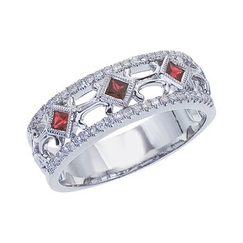 14k White Gold Ruby Diamond Open Band