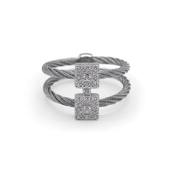 Grey Cable Reflections Vertical Ring with 18kt White Gold & Diamonds