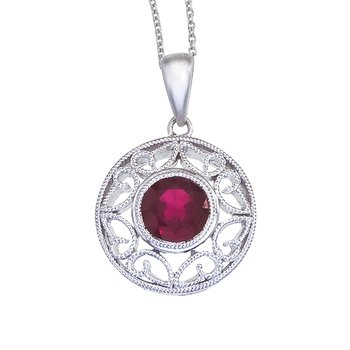 14k White Gold Ruby Filigree Pendant
