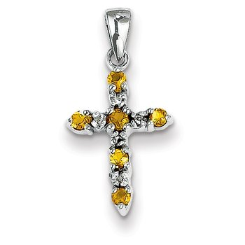 14k White Gold Citrine and Diamond Cross Pendant