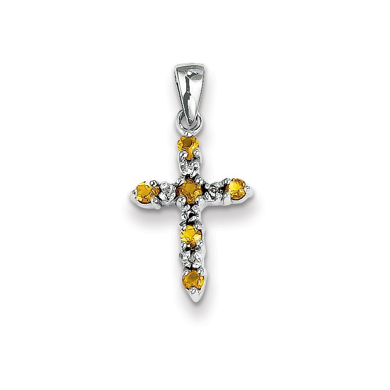 Quality Gold 14k White Gold Citrine and Diamond Cross Pendant