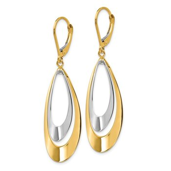 Leslie's 14K Rhodium Polished Leverback Earrings