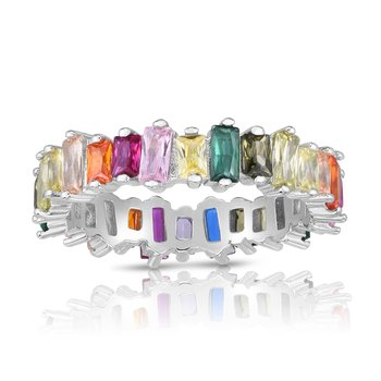 Silver Rainbow CZ Scattered Baguette Ring