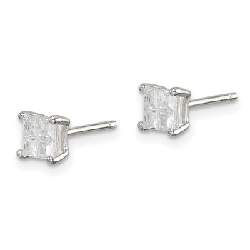 Sterling Silver 4mm Square Cross-cut CZ Basket Set Stud Earrings