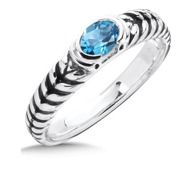 Sterling Silver Blue Topaz Essentials Ring