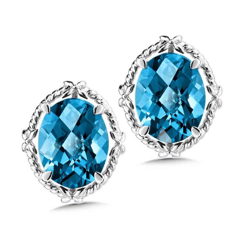Colore Sg Sterling Silver London Blue Topaz Stud Earrings