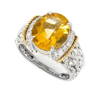 18kt & Sterling Silver Citrine Ring