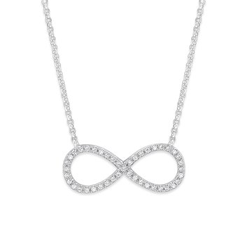Diamond Infinity Necklace in 14K White Gold with 43 Diamonds Weighing  .14ct tw