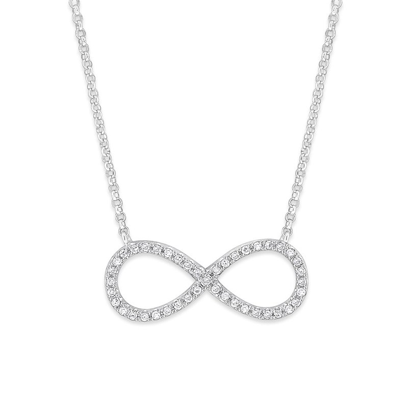KC Designs Diamond Infinity Necklace in 14K White Gold with 43 Diamonds Weighing  .14ct tw