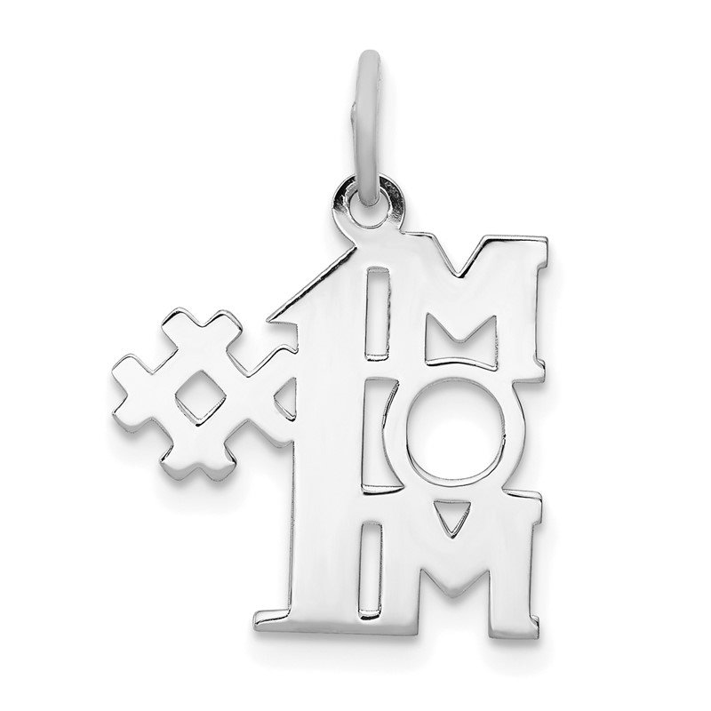 Quality Gold Sterling Silver Rhodium-plated # 1 Mom Polished Charm