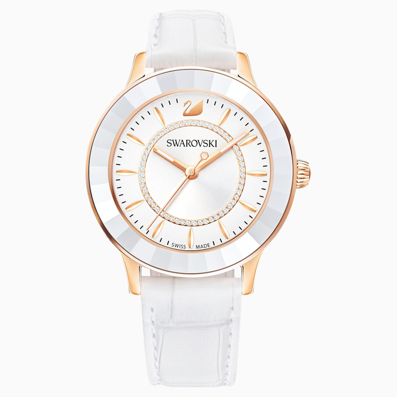 Swarovski Octea Lux Watch, Leather strap, White, Rose-gold tone PVD