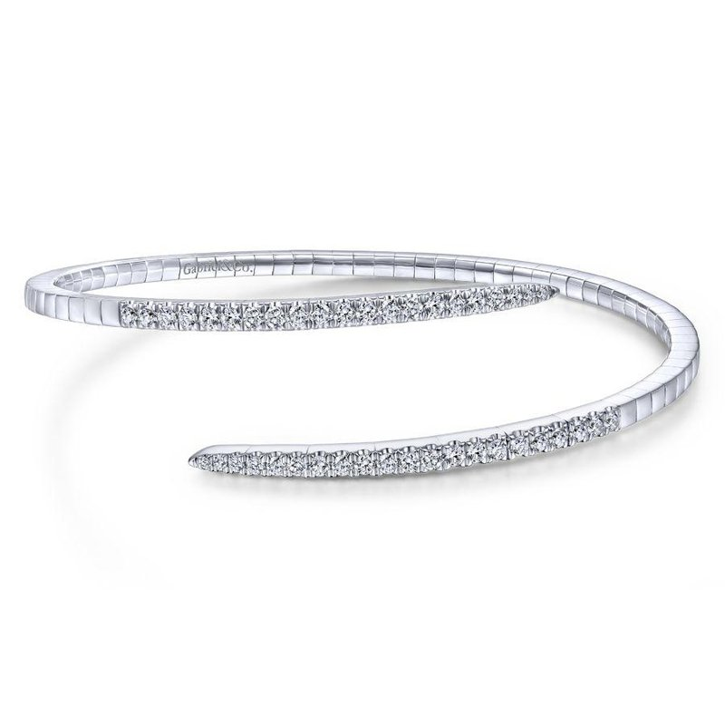 Gabriel Fashion Bestsellers 14K White Gold Split Bypass Diamond Bangle
